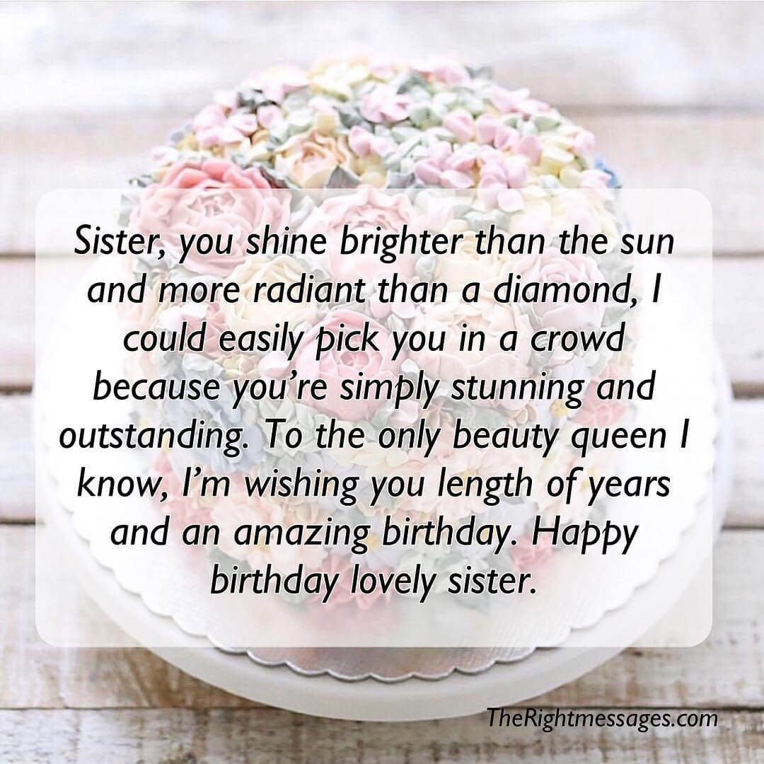 Happy birthday lovely sister.