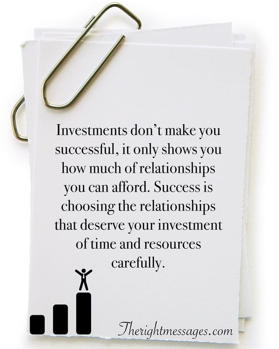 Investments don't make you successful