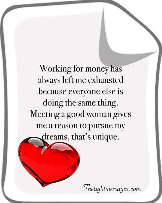 Working for money love quote
