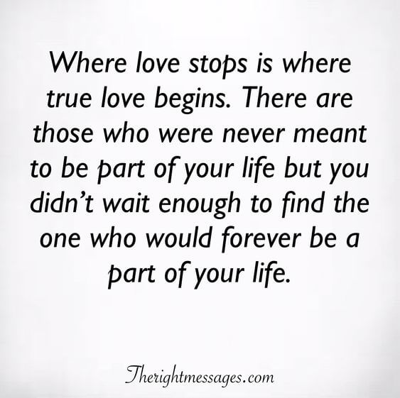 Where love stops is where true love begins