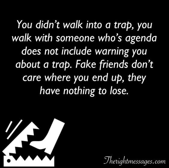 You didn't walk into a trap fake friend quote
