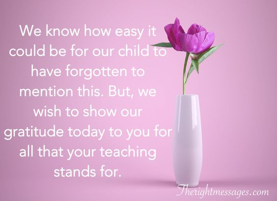 Thank You Teacher Message from Parent