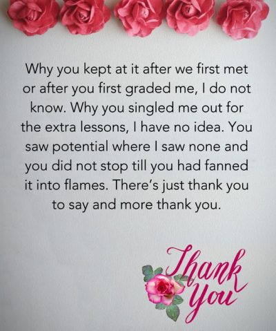 Thank You Note to Teacher from Student