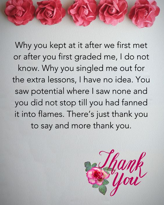 Thank You Teacher Messages Quotes From Students And Parents The
